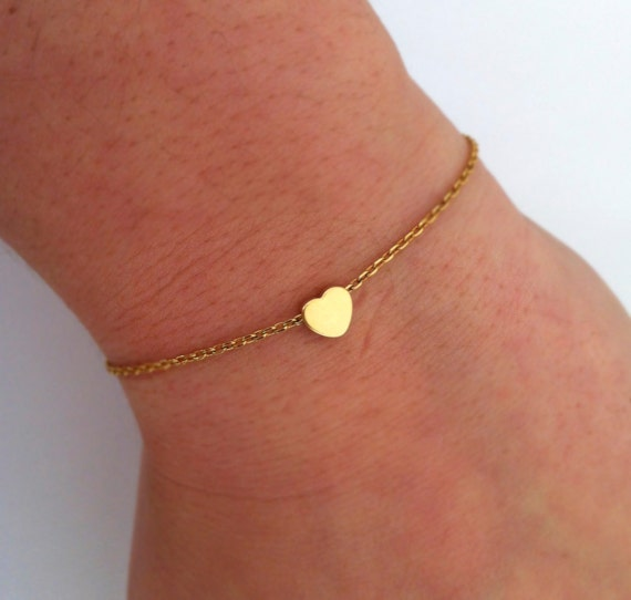Tiny Heart Bracelet - Dainty Everyday Jewelry - Simple Love Bracelet - Gift for Mother's Day