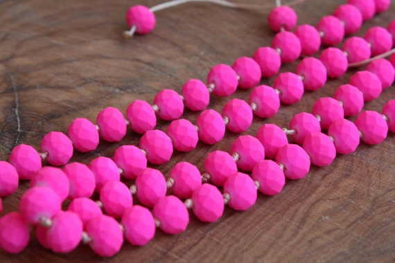 Neon Pink Necklace. Knoted adjustable necklace. Neon minimalist necklace.