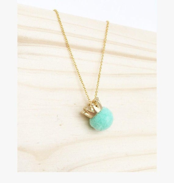 Tiny Pom Pom Crown Necklace. Summer gift. Gold plated and mint  Charm Necklace.