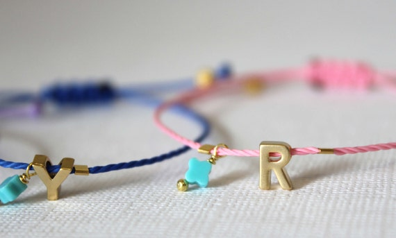 Tiny Gold Letter Friendship Bracelet. 14k Matt Gold Plated Initial. Letter bracelets with Waxed Cord. Initial Bracelet. Adjustable bracelet