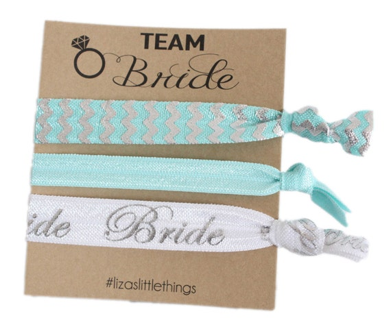 Bride hair ties. Fold over Elastic wedding gifts. Personalized bridal gift. Foe hair ties gift. Bachelorette party favor