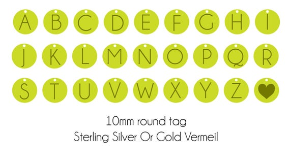Add on Initial tag charm . ONLY ENGRAVED TAG. Gold vermeil initial Round Tag. Little tag laser engraved initial. Personalised Tag