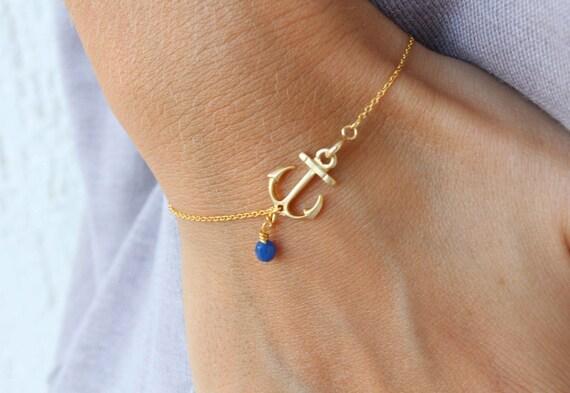 Anchor Bracelet - Blue pendant bracelet - Delicate anchor bracelet - gold anchor bracelet - everyday bracelet