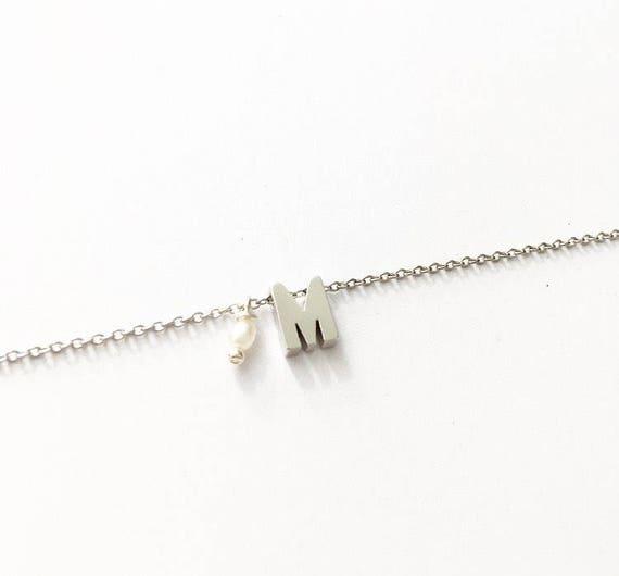 Silver Letter Bracelet. Initial Bracelet. Bridesmaids gift. Bracelet gift for her. Silver plated initial bracelet. Personalized bracelet.