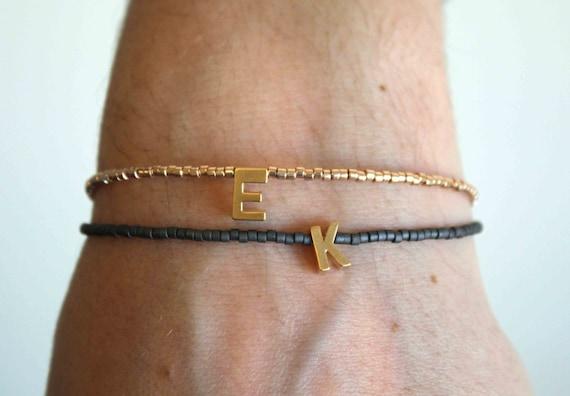 Tiny gold letter bracelet - Personalized Friendship Bracelet - Tiny beaded Initial-Letter Bracelet - Monogram Bracelet - Name bracelet
