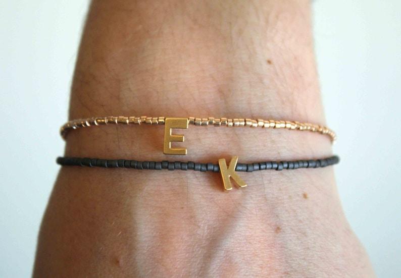 Tiny gold letter bracelet  Personalized Friendship Bracelet  matt charchoal