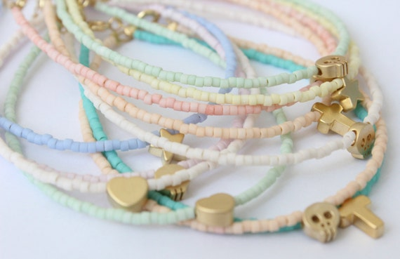 Pastel charm bracelet - beaded bracelet - gold charm bracelet - tiny charm bracelet - Heart bracelet - tiny star bracelet