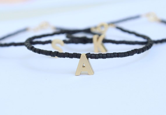 Monogram Bead Bracelet. Personalised Jewelry. Tiny gold letter bracelet. Monogram Friendship Bracelet. Tiny Initial-Letter Bracelet.