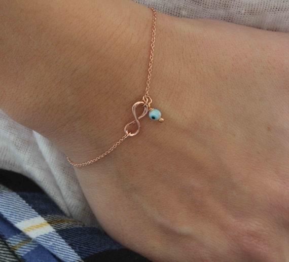 Rose Infinity Bracelet. Infinity w/ evil eye bracelet. Rose gold charm bracelet. Evil eye bracelet. Dainty Bracelet