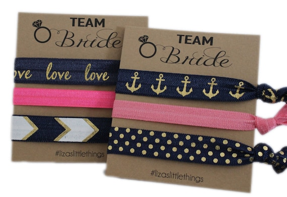 Bachelorette Gift. Blue Hair ties. Foe Gift. Bridesmaids hair ties. Elastic wedding gifts. Friendship Foe hair ties. Bachelorette party