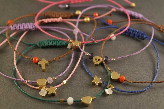Tiny Charm Bracelets. Adjustable macrame bracelets. Friendship bracelets. Star bracelet. Heart charm bracelet. Cross Charm. Skull charm