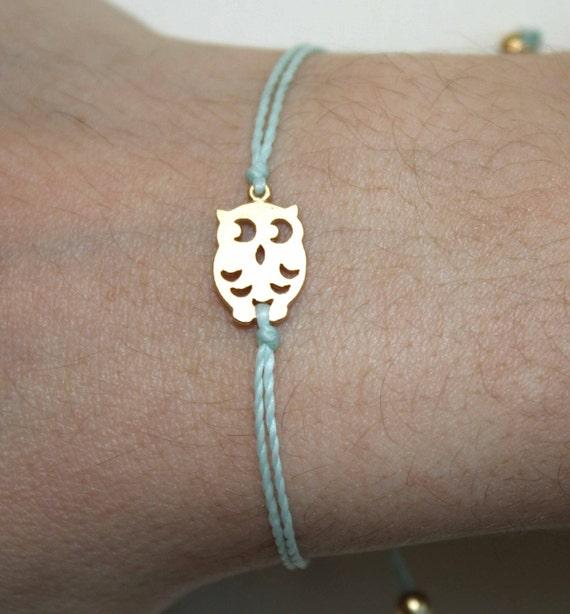 Tiny Gold Matt Owl Bracelet