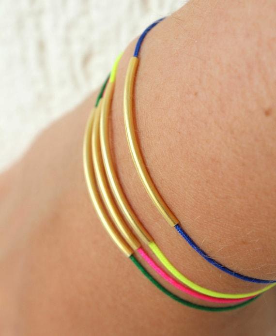 Gold Tube Bracelets - Neon Bracelets - Macrame string bracelets - Adjustable bracelet - gold bar bracelet