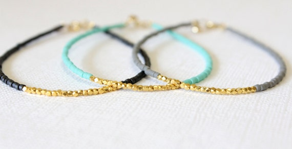 Gold filled bracelet -Beaded Gold Bracelet - Gold vermeil dainty bracelet - Minimal bracelet - Friendship Bracelet - Pastel colours