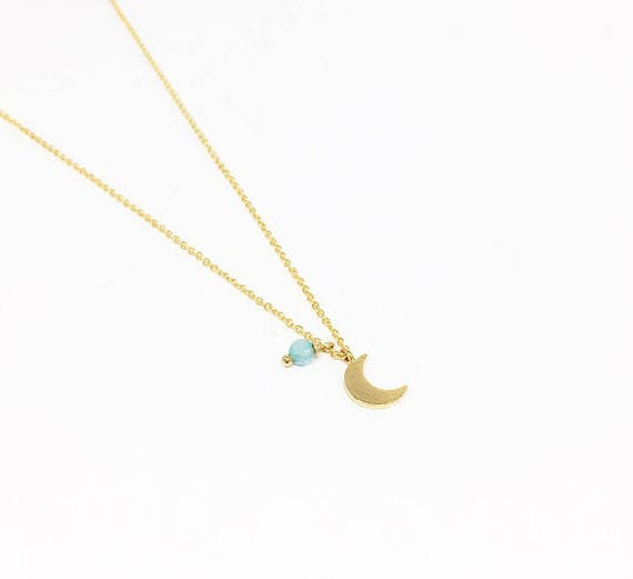 Moon necklace. Gold plated chain half moon necklace. Little moon necklace. turquoise and Crescent necklace. Bridesmaids gift