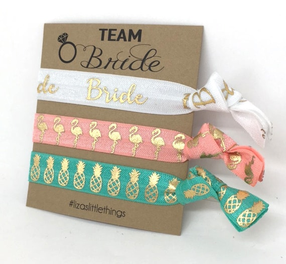 BRIDAL SHOWER  gifts. Bridal hair ties. Hen party wedding gifts. Personalized bridal gift. Elastic hair ties gift. Bachelorette party favor