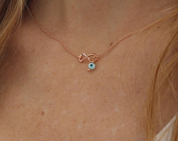 Dainty Infinity Necklace. Chain infinity necklace. Evil eye necklace. Rose gold necklace. Minimalist necklace. Valentines day Gift