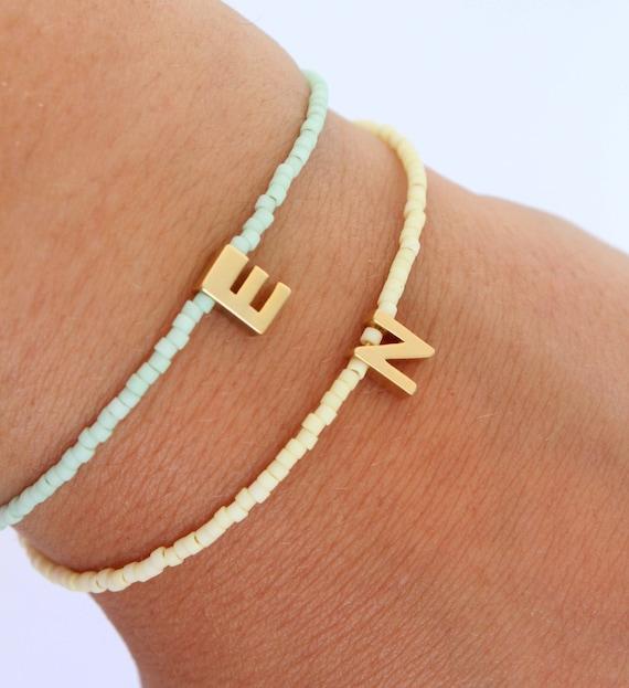 Tiny initial bracelet - Pastel beaded letter bracelet - Monogram bracelet - Bridesmaids bracelet - 14K gold matte initial bracelet