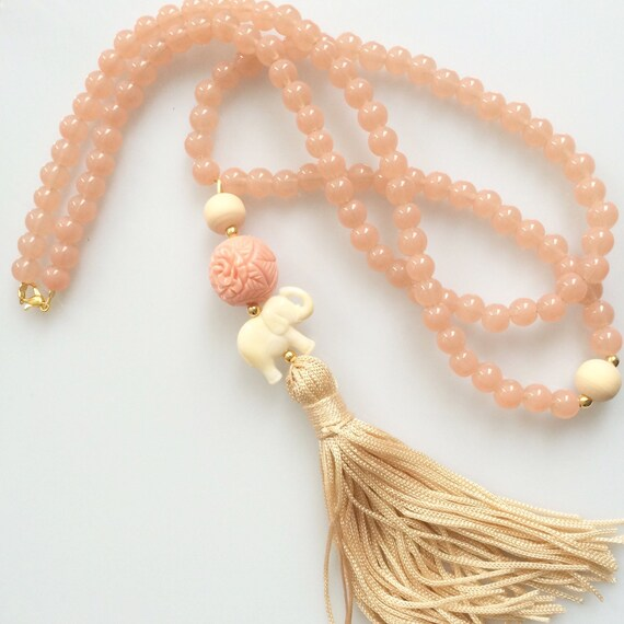 Light pink Tassel Necklace. Mala long beaded necklace. Bohemian elephant summer Necklace. Pink elephant tassel Necklace