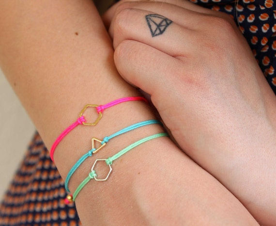 Geometric friendship bracelet. Summer triangle bracelet. Minimalist neon bracelet. Geometric shape adjustable bracelets