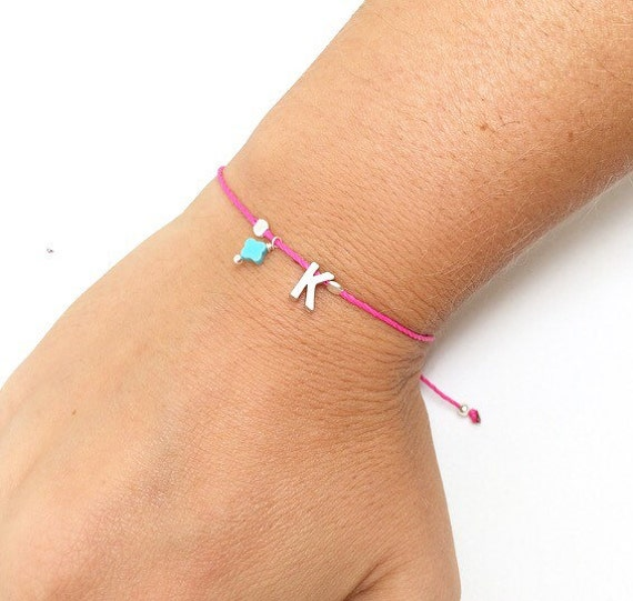 Adjustable Initial Bracelet with waxed cord. Tiny Silver Letter Friendship Bracelet. Silver Plated Letter charm. personalized bracelet