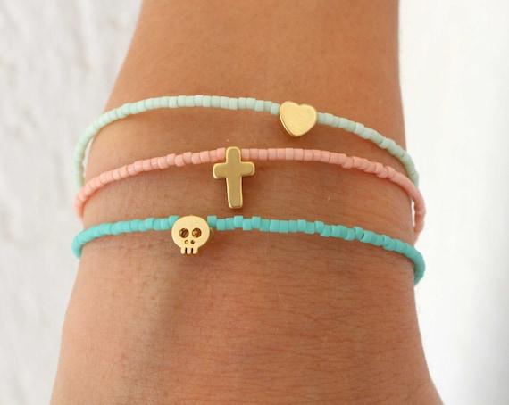 Tiny Charm Bracelets - Beaded Bracelets with charm - Pastel Bracelets - Tiny Skull Bracelet - Tiny Heart - Tiny Cross - Tiny Star