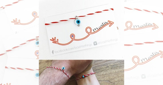 "Red and White Bracelet. ""Martis"" bracelet. March Bracelet. Evil eye Bracelet. Spring Bracelet. Minimalist bracelet"