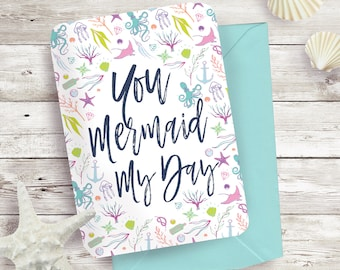 You Mermaid My Day Thank You Cards Set
