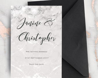 Grey Marble Style Wedding Save The Dates