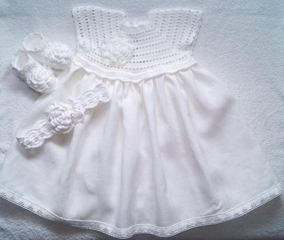 Leinen Häkeln Taufe Kleid Stirnband Und Schuhe Für Babys Und Etsy