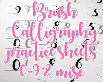 Brush lettering practice sheets, numbers and special characters