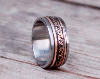 Titanium and Brass Floral Wedding Ring, Engagement Ring, Mens Rustic Art Nouveau Titanim Band, Engraved Ring