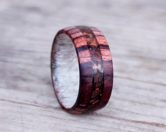 Kingwood and Coffee Bean Ring, Mens Coffee Band, Ring for Coffee Lovers, Antler and Kingwood Wedding Ring