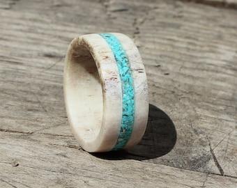Antler Ring, Wedding Ring With Turquoise Inlay,  Deer Antler Wedding Band