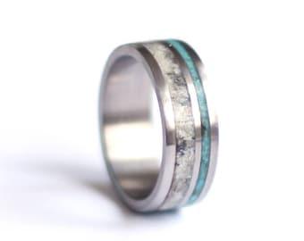9d23d861c7 Stainless Steel Mens Wedding Band, Antler Wedding Ring, Turquoise Wedding  Ring,