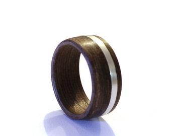 Mens Ring, Wood Wedding Ring, Sterling Silver Wedding Ring, Wide Mens Band With Sterling Silver Inlay