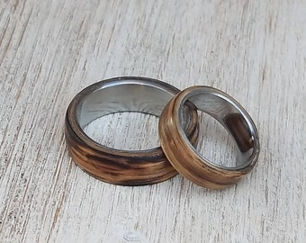 Oak Barrel Matching Rings, Whiskey Barrel Band Sets, Stainless Steel Wedding Rings, Custom Engraved Bands