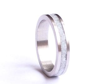 Women's Wedding Band, Titanium Women Ring, Stainless Steel Wedding Ring with Crushed White Quartz Inlay