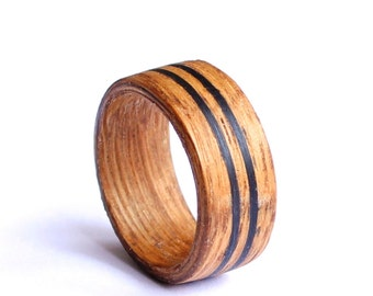Mens Wedding Band, Mens Ring, Bentwood Wedding Ring, Wood Mens Band With Ebony Inlay
