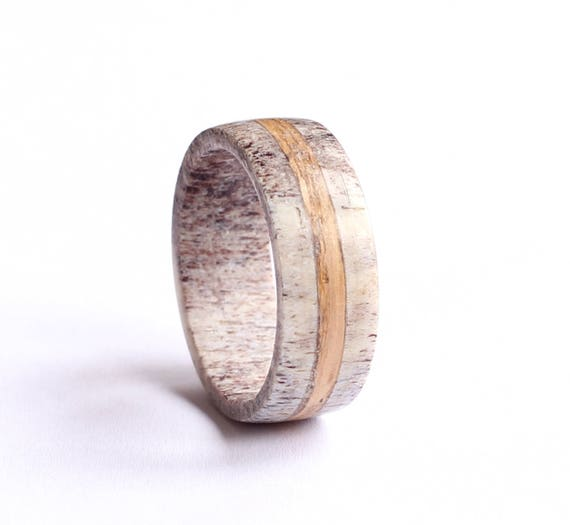 Oak Wood Ring Mens Antler Wedding Ring With Oak Wood Inlay  63df5134a
