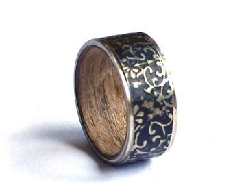 Woman Wedding Band, Floral Wedding Ring, Black Silver Ring, Antler Ring,  Industrial Pattern Ring, Wood Wedding Band, Womens Ring,