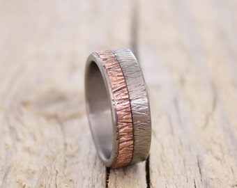 Titanium and Copper Band,  Men Ring Band, Rustic Copper Ring