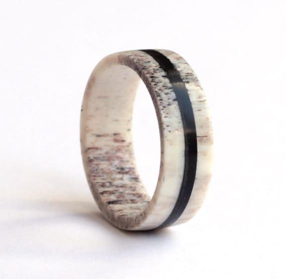Antler Ring Ebony Ring Mens Ring Wedding Ring Deer Antler Etsy