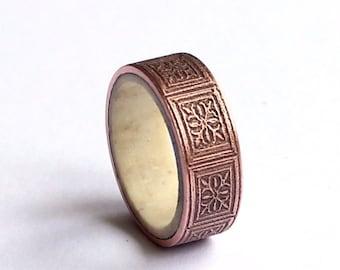 Copper Mens Ring, Mens Antler Band, Wedding Ring, Art Nouveau Engraved Rustic Band