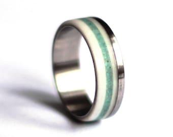 Antler Wedding Ring, Titanium Ring, Stainless Steel Wedding Band, Turquoise Wedding Ring,