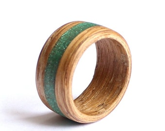 Men's Wood Ring, Beech Bentwood Ring, Wood Wedding Ring, Wood Mens Band With Green Inlay