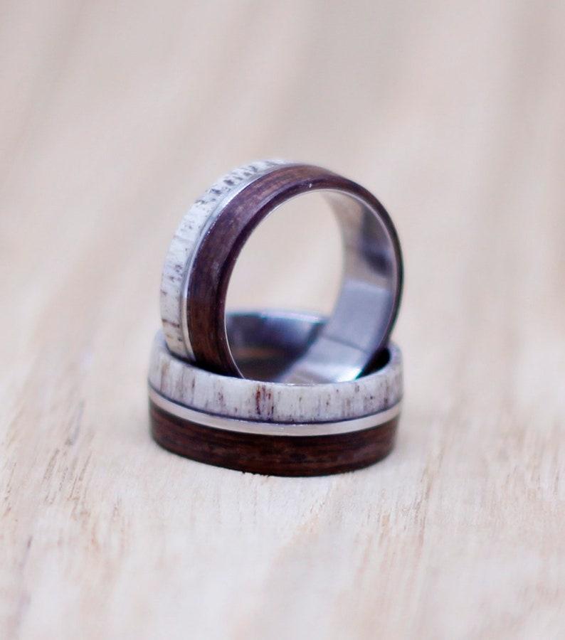 Stainless Steeland Antler Wedding Ring Sets Deer Antler Band Antler and Wood Matching Rings