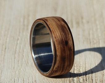 Whiskey Barrel Ring, Personalized Rustic Oak Wood Mens Band,  Wood Wedding Ring