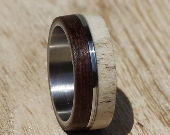 Mens Antler Ring, Stainless Steel Wedding Ring,  Wood Mens Ring, Wenge Wood Wedding Band