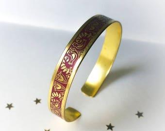 Vintage Brass Bracelet, Etched Greek Handcrafted Cuff Adjustable, Greek Red Enamel Birds Motif Etching